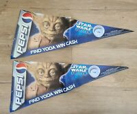 """Two 1999 Advertising Pepsi Star War """"Find Yoda Win Cash"""" Large Stickers"""