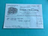 Charles J Barr & Sons 1936 Chair & Cabinet Makers Ipswich receipt  R34754