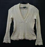 Lauren Ralph Lauren Women's Large Low Cut Cable Knit 100% Cotton Sweater Cream