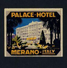 Palace Hotel Merano ITALY * OLD LUGGAGE LABEL VALIGIA ADESIVI Franz Lenhart