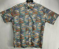 Kahala Mens XL Hawaiian Shirt Blue Fish Short Sleeve Button Up Cotton Aloha EUC