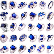 40 Styles Topaz Jewelry Sapphire Quartz Gemstone Silver Ring Gift Size 6-13