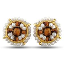 Real Freshwater Pearl, Tiger Eye & Gold Plated Kuda Jodi Earrings SE43