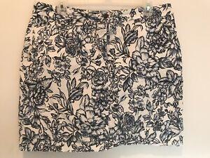 Womens Karen Scott Blue & White Floral Skort Skirt Size 12