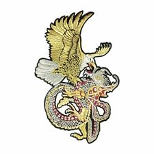 Gold Eagle Silver Dragon Fight Flight XXL (Iron On) Embroidery Applique Patch