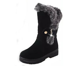 women fashion fur mid calf snow boot rhinestone buckle suede kneen high booties