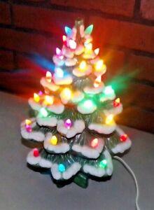 "13"" Ceramic White Flocked Lighted Christmas Tree"