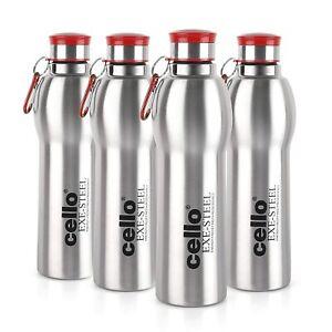 Drinkware Stainless Steel Water Bottle 1000 ml Red- Set of 4
