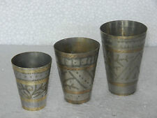 Old Brass Lot Of 3 Brass Small Inlay Carving Work Lassi / Milk / Water Glass
