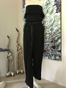 SEAFOLLY BLACK EMBOIDERIE ANGLAISE STRAPLESS JUMPSUIT SIZE SMALL 10