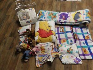 NEW Winnie the Pooh CRIB Nursery BEDDING SET, Curtains, Keepsake Pillow & PLUSH