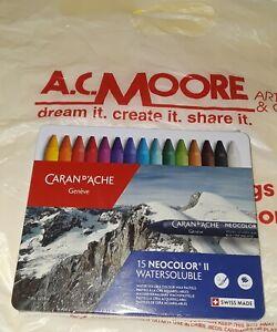 CARAN D'ACHE 15 NEOCOLOR 2 WATERSOLUBLE PENCIL SET~BRAND NEW~BID@$1~A.C. MOORE