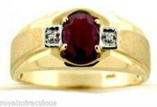 Mens Genuine Ruby & Diamond Ring 14K Yellow Gold