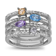 Sterling Silver Fashion MultiColor Gemstones 4 Rows Band Ring, Size 7