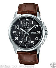 MTP-E307L-1A Black Casio Men's Leather Watches Day and date indicator Brand New