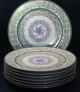 8 VINTAGE PULS CZECHOSLOVAKIA FLOWERS DESIGN GILDED DINNER PLATES
