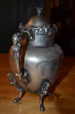 antique silverplate teapot-wilcox silver co. victorian colonial head bust lady