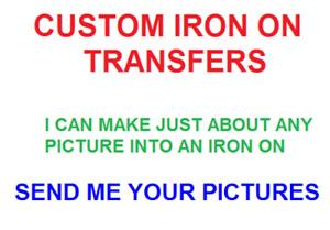 Custom Iron On Transfer Light/Dark Fabrics Various Sizes Offered You Choose