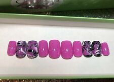 Purple Marble Press On Nails - Fake Fingernails Glue On - Coffin Almond Square