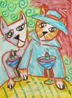 SWING CATS Art Print from Painting 4 x 6 Martinis Signed by Artist Outsider Folk