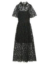 Snidel Embroidered Floral Lace Long Black Dress Sz XS/S $235 New