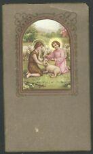 estampa antigua de Jesus y San Juan Bautista santino holy card image pieuse