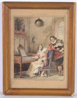 """Theophile E. H. Etienne Fragonard """"Baroque gallant scene"""", watercolor, 1834"""