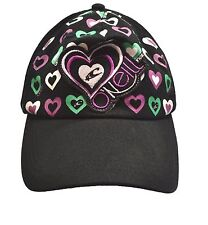 O'Neill ARIEL Black Purple White Mint Hearts Dad Hat Snapback Junior Women's Hat