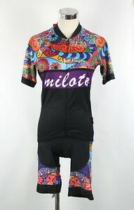 MILOTO Womens Sz M / 8 - 10 Cycling Bib Shorts & Top Black Multi Colour Zip Up