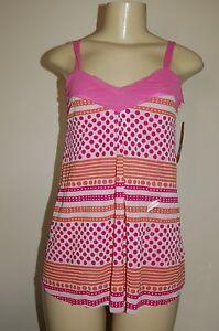 NWT Women's DKNY Pink Polka-Dot Mesh Tank Top Size Small Nice LQQK Free Shipping