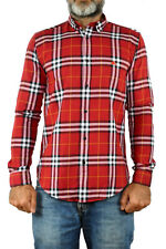 Burberry 's BRIT London Red Check Mens Casual SHIRT Vtg 90s Cotton & Flax NWT