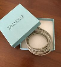 Touchstone Suede Wrap Bling Bracelet with Swarvoski Crystals Soft Gray Color