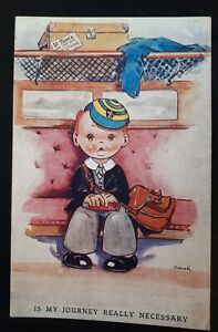 1940s/ WWII Colour Birthday Postcard. Little Boy Going to Boarding School. Dinah