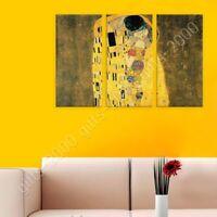 The Kiss by Gustav Klimt   Ready to hang canvas   3 Panels Wall art print HD