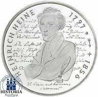 BRD 10 DM Heinrich Heine 1997 Silber Stempelglanz Münze in Münzkapsel