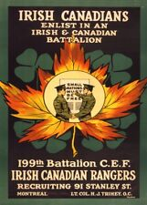 IRISH CANADIANS ENLIST IN AN IRISH BATTALION Irish WW1 Propaganda Poster