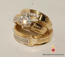 Yellow Gold Over Round Cut Diamond Wedding Ring His Her Band Trio Ring Set