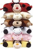 TRAVEL PILLOW HEADS CUSHION SOFT TOY Animal Designs