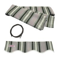 ALEKO Fabric Replacement For 10x8 Ft Retractable Awning Multistripe Green Color