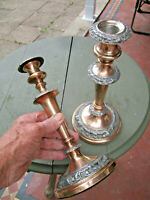 Old Great Pair Antique Georgian Candlesticks Candle Holders made England c1820