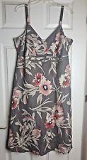 Principles Ladies Brown/Red V Neck Floral Strap Summer Dress - NEW Size 18 / 46