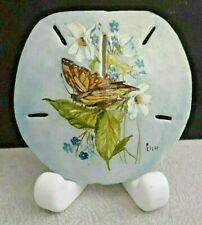 Signed Hand Painted Natural Sand Dollar 5� Monarch Butterfly & Flowers Vintage