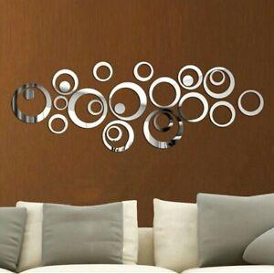 24pcs 3D Mirror Circles Wall Sticker DIY Decal Vinyl Mural Home Decor Removable