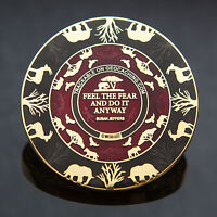 2T Gold: Red/Black Courageous Lion Geocoin - Geocaching 50 MADE