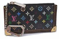 Auth Louis Vuitton Monogram Multicolor Pochette Cles Black Coin Case LV A7095