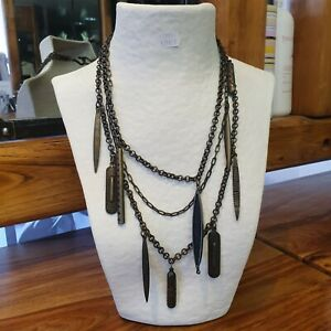 Collier Tribu Rigaux Etain Bronze Ethnique  corne noire Neuf