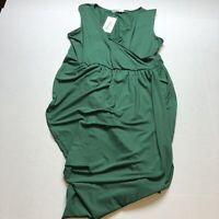 Meaneor Green Sleeveless Faux Wrap Dress Size XL A1970