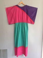 Vintage 70s 80s Long Caftan Dress Kimono XL XXL Pink Purple Teal Green Costume