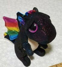 "TY Beanie Boos 6"" ANORA the Dragon Plush Stuffed Animal black rainbow sparkly"