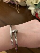 NAIL BRACELET  (costum made) solid 30g  14 kt white gold (size 17)
